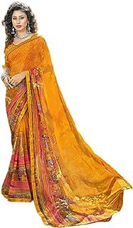 بلوزة ساري من تصميم أصفر للسيدات للحفلات مطبوع عليها جورجيت بتصميم هندي تقليدي فاخر من بوليوود 6055