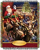 Warner Brothers The Polar Express, 'Santa Flight' Woven Tapestry Throw Blanket, 48' x 60', Multi Color