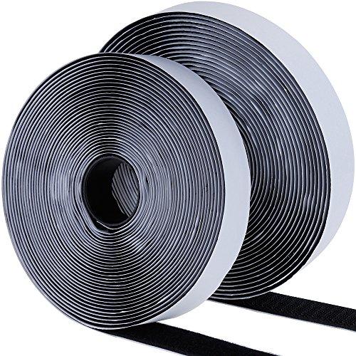 Faburo 2x8M Doppelseitig Klebende Klettband 8M Schwarz Extra Stark Haftkraft Selbstklebend Flauschband Hakenband Langfristige Lebensdauere klebend