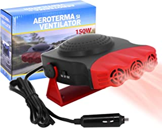 ROYADVE Portable Car Heater 12V Fast Heating Cooling Fan Auto Plugs Into Cigarette Lighter Vehicle Defogger Defrosts 360 Degree Rotary
