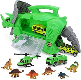 UTC Global Best Dinosaur Storage Carrier for Your Dinosaurs and Cars (Includes Mini Dinosaurs and car Toys)