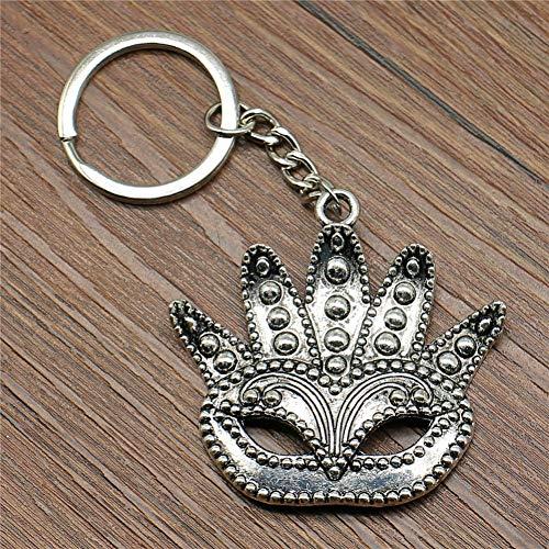 YCEOT Sleutelring, groot masker, sleutelhanger, 48 x 50 mm, verzilverd, modieus, handgemaakt, metaal, sleutelhanger, souvenir, geschenken voor vrouwen