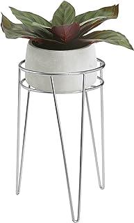 mDesign Okrągły stojak na kwiaty – Kwietnik w stylu modern farmhouse z metalowymi nogami typu hairpin – Stojak na doniczki...
