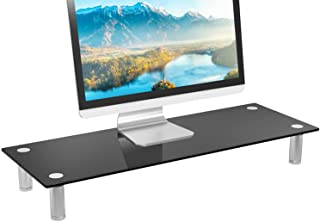 WALI Tempered Glass Monitor Riser Desktop Stand Height Adjustable Table Top for Flat Screen LCD LED TV, Laptop, Notebook, ...