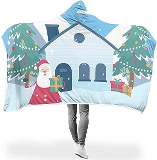 Ziwa88 Bat Blanket Christmas Santa Claus Theme Print Lightweight Soft Warm Robe Hoody - House 2 Sizes Fits Women/Men Use White 50x60 inch