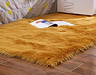 Artificial Wool Carpet Rectangle/Square Garnish Faux Mat Seat Pad Plain Skin Fur Plain Fluffy Area Rugs