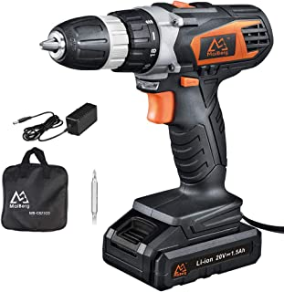 Cordless Drill, 20V Cordless Drill Driver with 1x1.5Ah Batteries, Fast Charger 1.3A, 18+1 Torque Setting, 2-Variable Speed Max Torque 250 In-lbs, 3/8