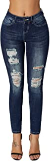 Women's Essentials Ripped Mid Rise Destroyed Skinny Jeans
