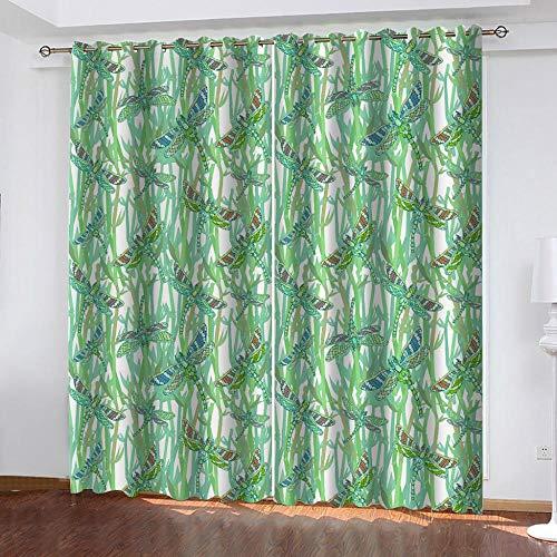 NTBDWOSQ Tende Oscuranti 3D 150X166 Cm (Lxa) Farfalla Verde Astratta Tenda Occhielli Tende da Interni Camera da Letto Soggiorno Moderne Cameretta Bambini, Tenda Decorativa per - Isolamento con Can