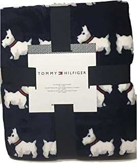 Tommy Hilfiger Scottie Dogs Full/Queen Plush Blanket Red Collars on Navy 90 x 90