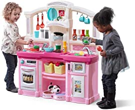 Step2 Fun with Friends Kitchen | Large Plastic Play Kitchen with Realistic Lights & Sounds | Pink Kids Kitchen Playset & 4...