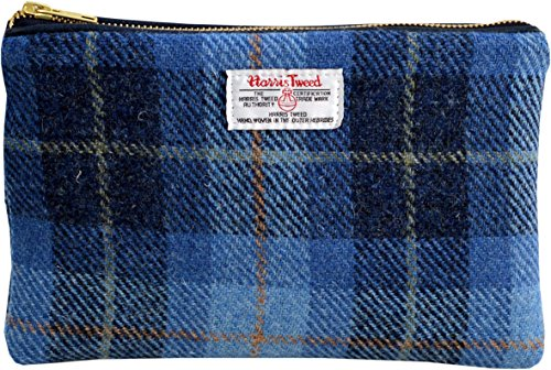 Vagabond Bags Harris Tweed Blue Check Large Cosmetic Bag Trousse de toilette, 24 cm, Bleu (Mid Blue)