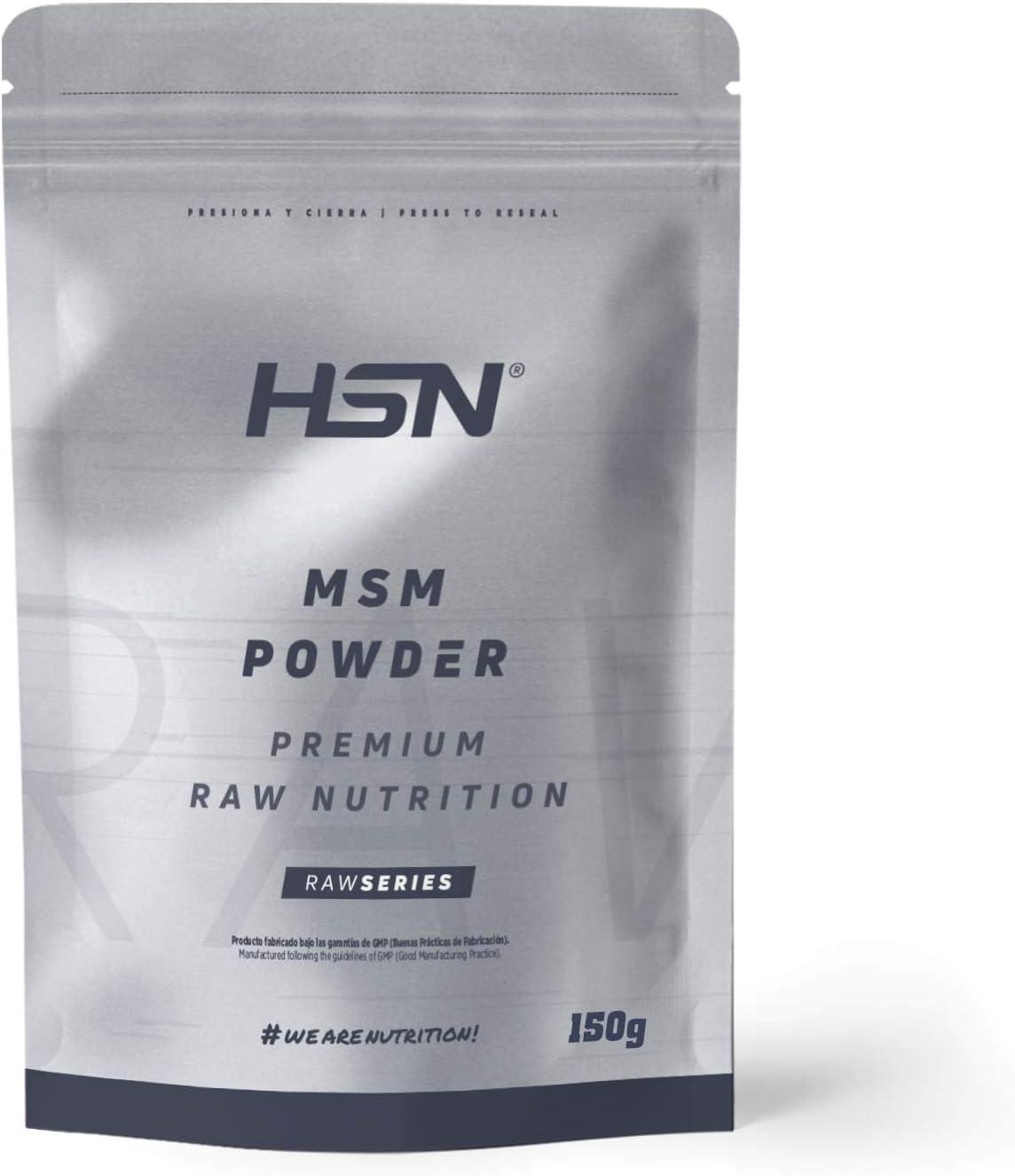 MSM en Polvo de HSN | MetilSulfonilMetano | Salud para los Huesos y Articulaciones | Forma biodisponible de azufre en polvo | Vegano, Sin Gluten, Sin Lactosa, 150g