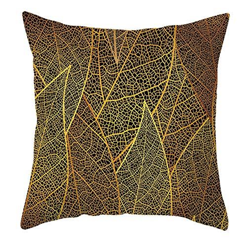 KnBoB Funda de Almohada Negro Amarillo Patrón de Hoja 50 x 50 cm Poliéster Estilo 14