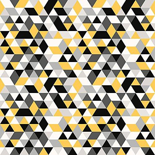 Papel de Parede Infantil, Triângulos Geométricos, Preto/Amarelo, 1000x52 cm, Bobinex Uau