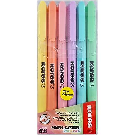 Kores Surligneur fin pastel, Stylo surligneur, pointe biseautée, marqueur de texte, Lot de 6 couleurs pastel tendance 36246