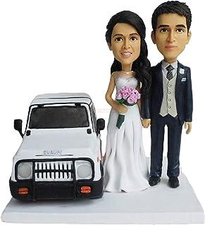 pareja con modelo de coche decoración del hogar muñecas bobblehead estatuilla regalo de navidad
