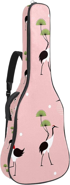Japonés Grúas Soft Bass Guitarras Caso Bolsa con Percha Trasera Lazo Electirc Guitarra Mochila Hojas Piñas Coralcm Espesor Acolchado de Seguridad