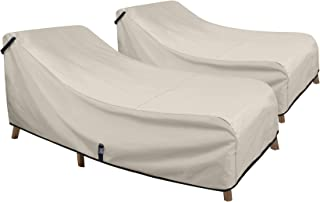 Porch Shield Patio Chaise Lounge Chair Cover - Waterproof Outdoor Pool Chair Cover 2 Pack - 76W x 32D x 32H inch, Beige