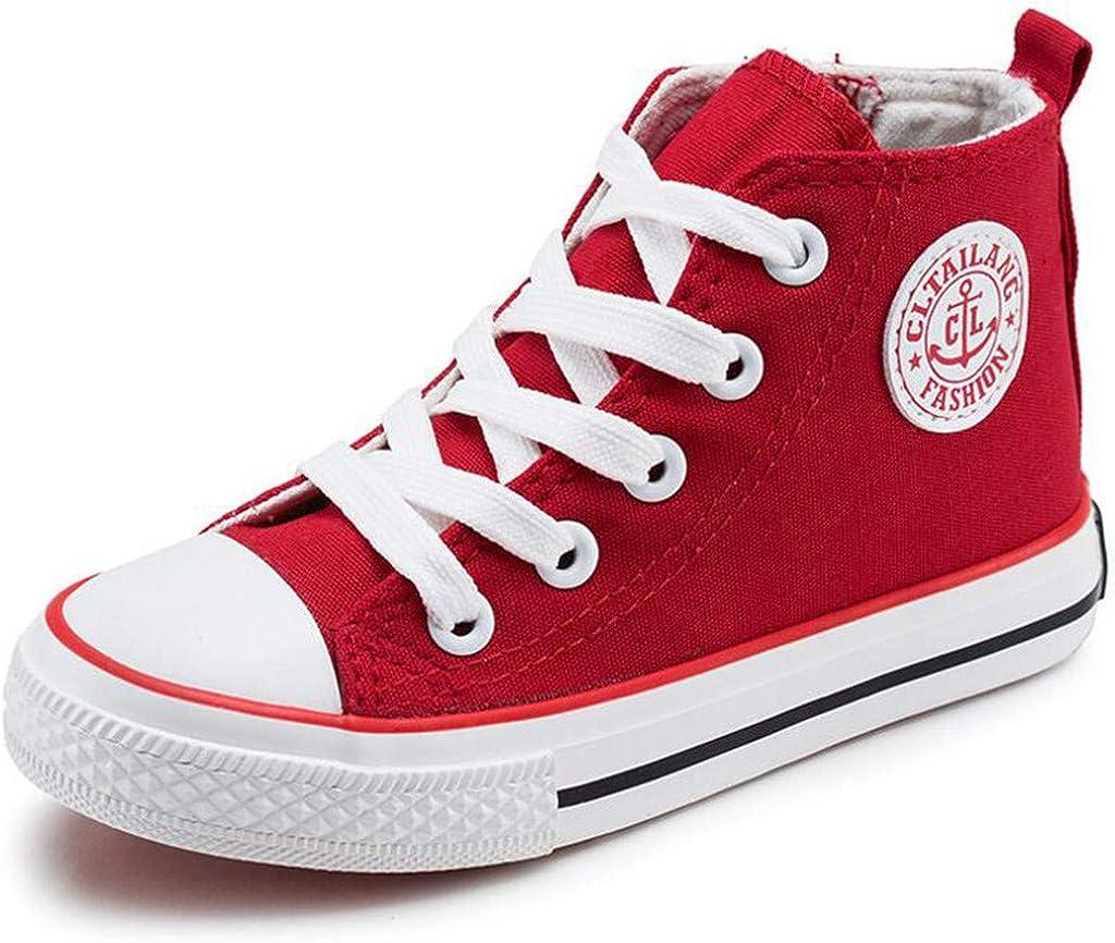 Toddler//Little Kid//Big Kid DADAWEN Girls Boys Canvas Side Zipper Lace Up High-Top Fashion Sneakers