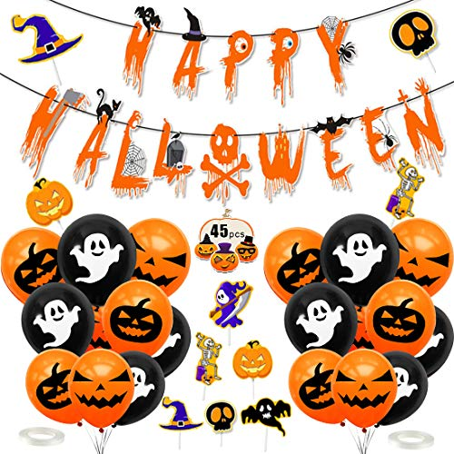 Halloween Decorazioni, Halloween Palloncini Decorazioni, Halloween Decorazioni per Le Feste, Decorazione Halloween Palloncini, Happy Halloween Banner, per Casa Stregata Party Decorazioni
