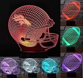 America Football Helmet 3D Illusion Nightlight Lamp, 7 Colors Changing Lighting Table Desk Lamp Home Room Decor - Best Gift for NFL Fans- 2 Model-Football Helmet & Rugby,1 Botton Base