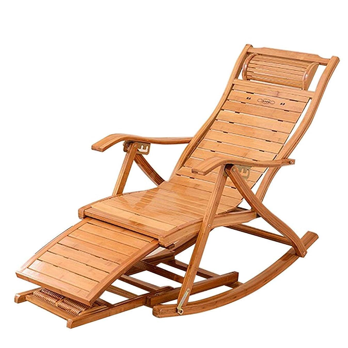 結晶器官悪性竹のデッキチェア、引き込み式のフットレストおよびマッサージのローラーが付いている携帯用大人の安楽椅子の庭のバルコニーのための老人の仮眠の椅子