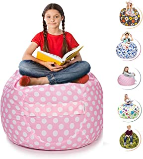 CALA LIFE Stuffed Animal Storage Bean Bag Chair Pink - Extra Large 38'' Beanbag Covers - 100+ Plush Toys Holder and Organizer for Kids Room -100% Cotton Canvas Cover