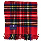 Prince of Scots Highland Tartan Tweed 100% Pure New Wool Fluffy Throw ~ Royal Stewart ~