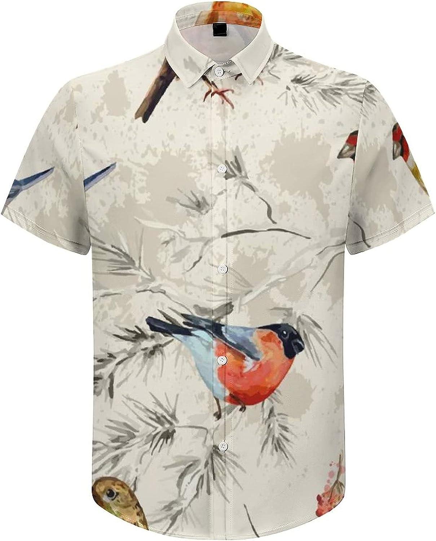Men's Short Sleeve Button Down Shirt Watercolor Birds Perch on Tree Summer Shirts