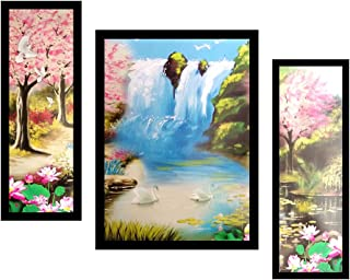PAF written in a Frame Framed 3 Set Waterfall Painting|| Waterfall Wall Décor Painting for Living Room and Office|| Home D...