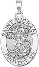 PicturesOnGold.com Saint Michael Oval Religious Medal - 2/3 X 3/4 Inch Size of Nickel, Sterling Silver