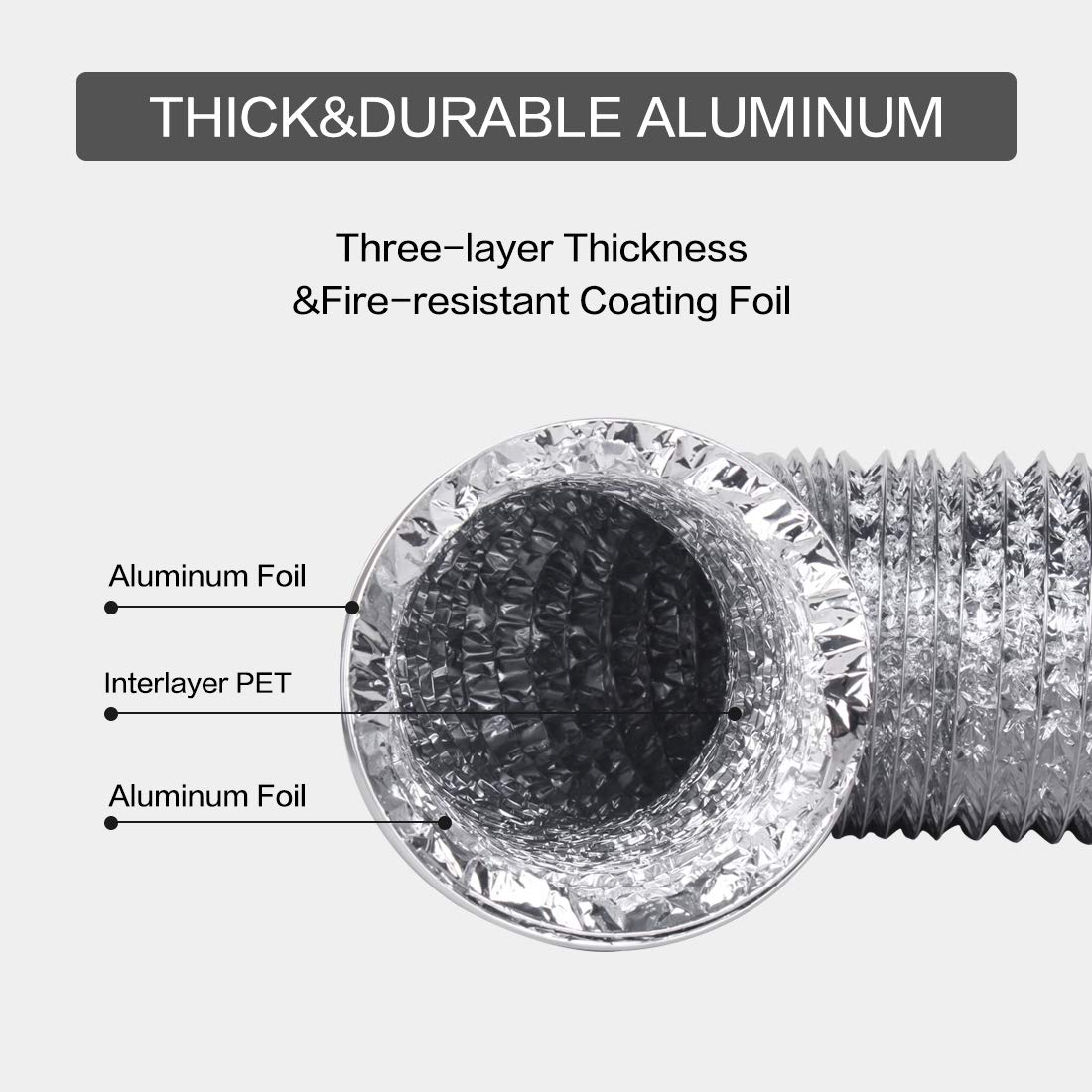 Duct Hose 5 Inch 16 Feet Non-Insulated Flexible Air Aluminum Foil Ducting Dryer Vent Hose with 2 Screw Stainless Steel Clamps Great for HVAC Duct, Air Duct: Industrial & Scientific