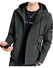 メンズ コート ブルゾン ジャケット メンズ ウィンドブレーカー メンズ グリーン カジュアル 薄手 黒 防風 グレー 無地 フード付き 軽量 アウトドア 秋 冬 春 M~4L