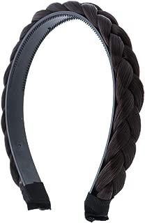 Dark Brown 1/2 Inch Plait Braided Hard Headband Hair Bands (Motique Accessories)