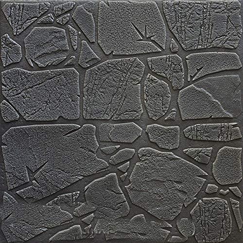 FDN Tapete Selbstklebende 3D-Wand-Aufkleber Dekorative Schlafzimmer Bedside Wohn Toom TV Hintergrund Wand-Papier Wasserdicht Stein Tapete Fototapete (Color : Dark Gray, Dimensions : 70cm x 70cm)