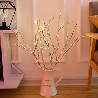 m·kvfa LED Willow Branch Lamp Floral Twig Lights 20 Bulbs Home Garden Artificial Christmas Tree Decor for Holiday Party Wedding Festival