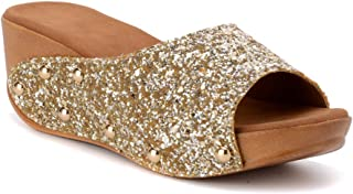 Bruno Manetti Women's Gold (3064) Faux Leather Wedges
