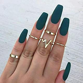 BERYUAN 5Pcs Halloween Boho Knuckle Simple Set Vintage Silver Gold Joint Knuckle Ring Set for Women and Girls (gold)