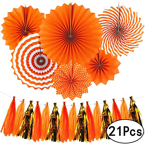 Orange Summer Tropical Party Hanging Tissue Paper Fans Decorations Thanksgiving Party Ceiling Hangings Baby Shower Wedding Party Tassel Garlands Decorations, 21pc