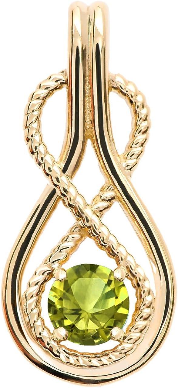 Infinity Rope August Birthstone Oklahoma City Mall Peridot Pendant 10k Yellow Trust Gold