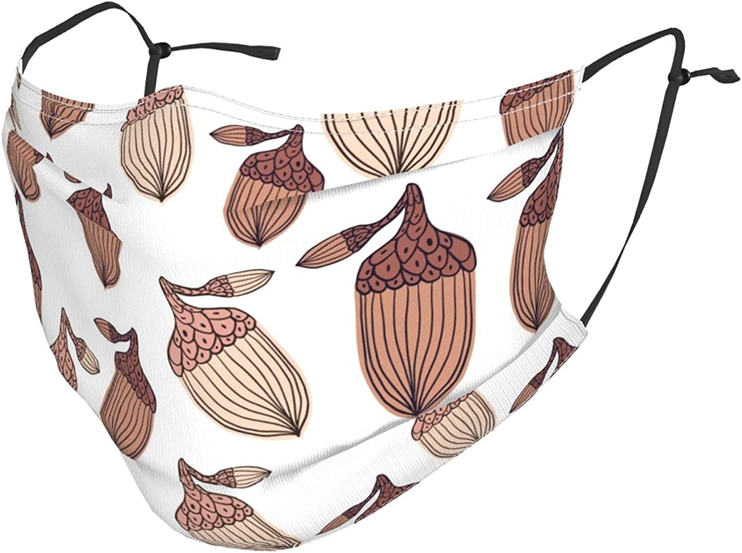 Sketch Acorn Pattern Adjustable Reusable Face Masks with Filter Pocket,Windproof Dust-Proof Washable Face Bandanas Balaclava Masks with Shield for Adults Kids Women Men