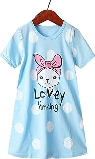 فساتين للبنات الصغار ملابس الفتيات الكبيرة زي الأميرة الصغيرة فستان قصير الأكمام للأطفال الأرنب الأزرق 6-7 سنوات