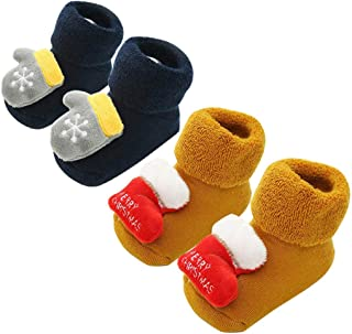 2 Pairs Newborn Baby Kid Little Boys Girls Cartoon Rabbit Floral Floor Socks Anti-Slip Baby Socks for 0-5 Years Old TM Little Kids Warm Socks,Colorful