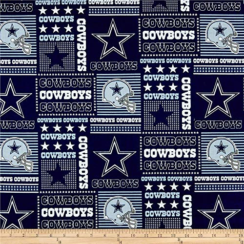 Quilt Fabric Traditions NFL Cotton Broadcloth Dallas Cowboys Patchwork Blue/White Quilt Fabric By The Yard, Blue/White