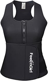 Neoprene Sauna Suit Tank Top Vest with Adjustable Waist Trimmer Belt (See The Size Chart)