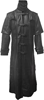 Mens Black Alligator Crocodile Leather Goth Matrix Trench Coat Steampunk Gothic Van Helsing