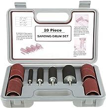 Kit de lijadora de tambor - Juego de herramientas de lijadora de tambor de lijado de husillo, con estuche, para taladro, 20 piezas