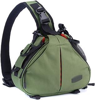 Caden K1 - Mochila bandolera impermeable para cámaras réflex digitales Canon y Nikon diseño triangular Verde