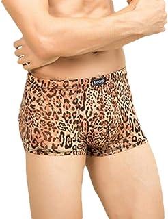 Mens Cozy Underwear Breathable Leopard Print Stretch Pouch Boxer Briefs